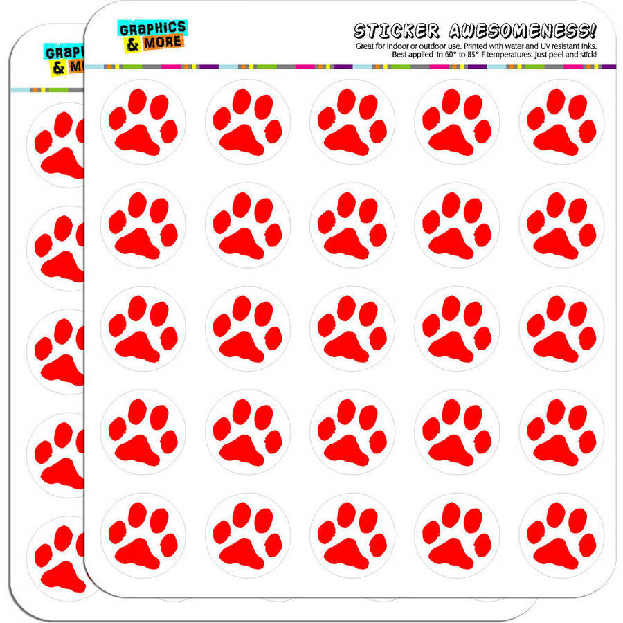 """Paw Print Red 50 1"""" Planner Calendar Scrapbooking Crafting Stickers"""