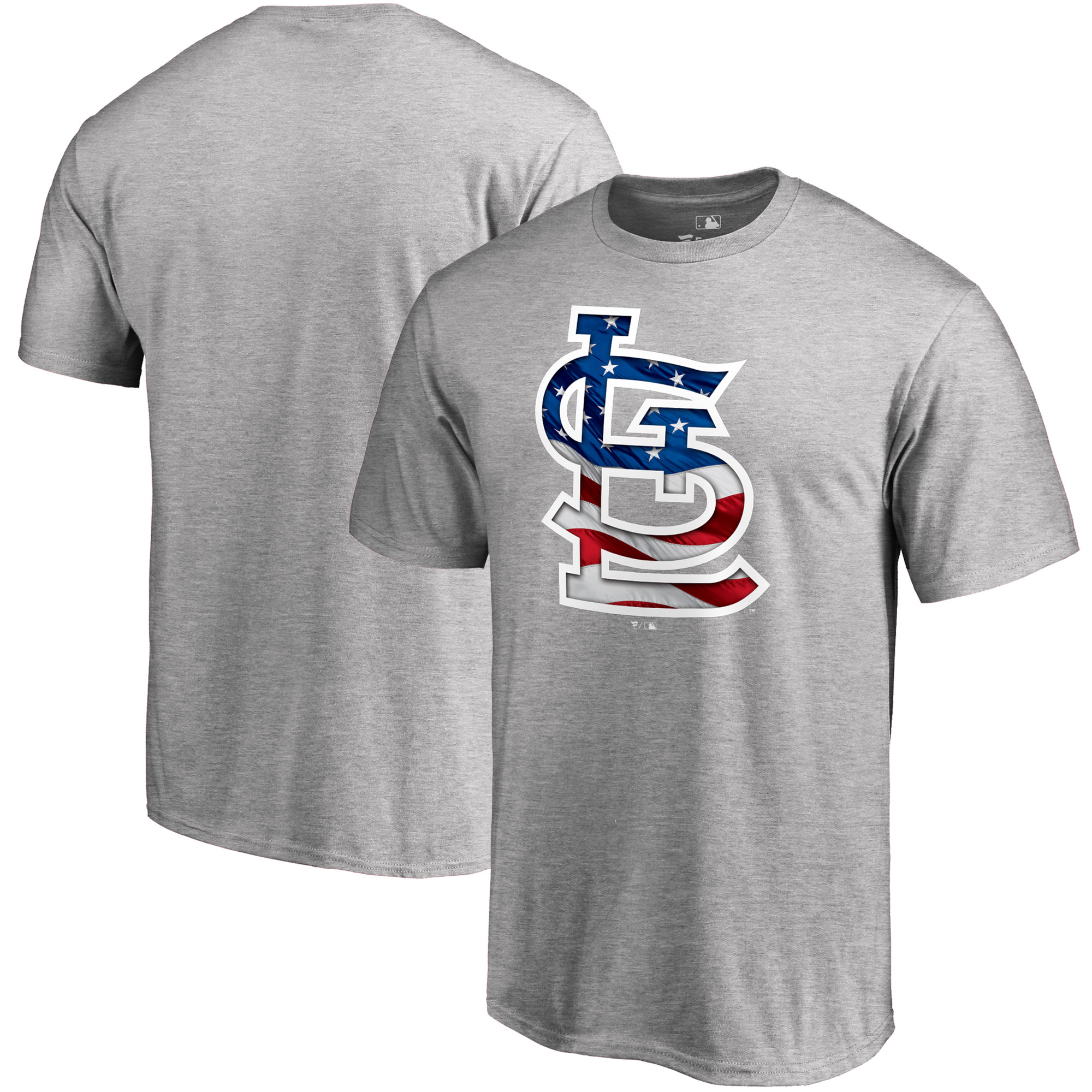 St. Louis Cardinals Fanatics Branded 2018 Stars & Stripes Banner Wave Logo T-Shirt - Heather Gray