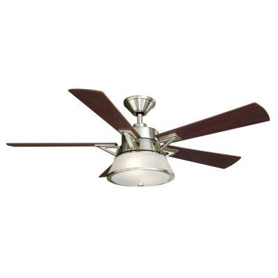 King Of Fans Hampton Bay Marlowe 52 in. Brushed Nickel Ce...