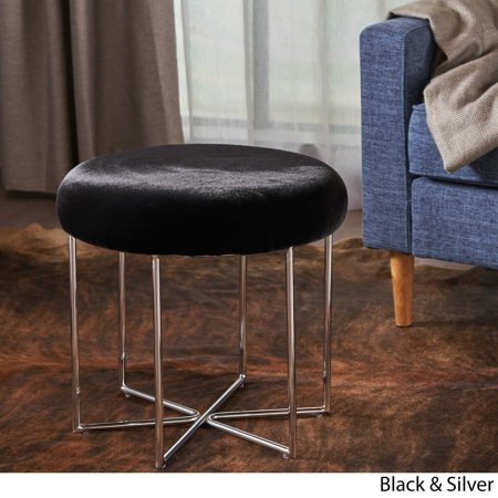 Christopher Knight Home Aveline Glam Furry Fabric Round Ottoman Stool by  (Christopher Black)