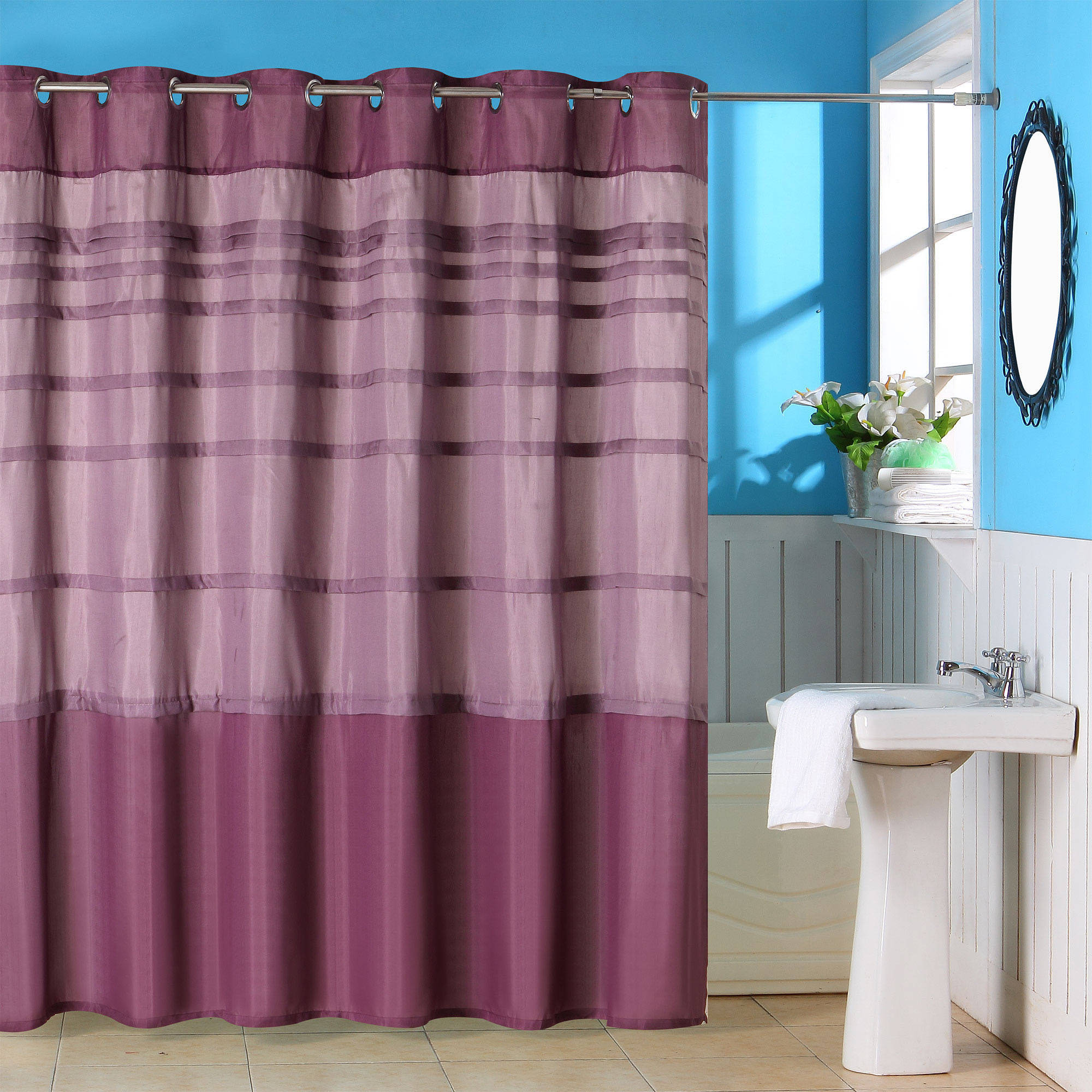 Orleans Pintuck Shower Curtain with Buttonholes by Somerset Home