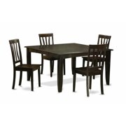 East West Furniture PFAN5-CAP-W 5 Piece Dining Table Set For 4-Table With Leaf and 4 Kitchen Chairs