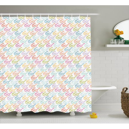 Indie Shower Curtain, Colorful Pattern with Classical Old Fashioned Eyeglasses Nerd Smart Hipster Doodle, Fabric Bathroom Set with Hooks, 69W X 84L Inches Extra Long, Multicolor, by (Extra Wide Eyeglass Frames)