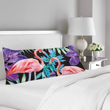 GCKG Flamingo Watercolor Exotic Plants Body Pillow Covers Case Protector 20x60 inches - image 2 of 2