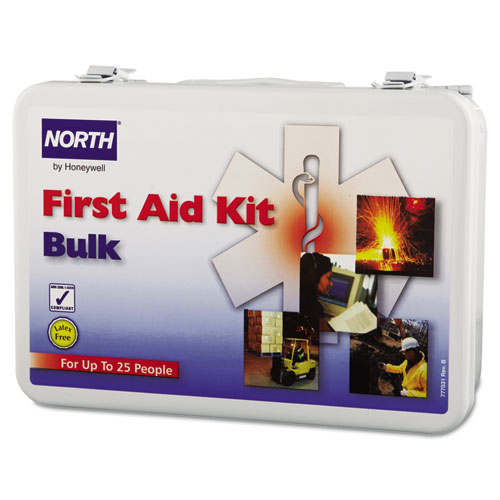 NORTH BY HONEYWELL 019703-0002L First Aid Kit, Bulk, Steel, 25People, Wall