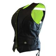 Women's G2 D.O.C. Hi-Vis Leather Vest Reverable Black/Green - Large G2RVWG