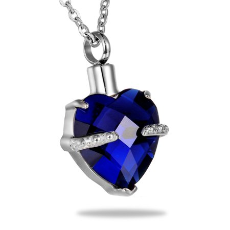 September Birthstone Heart Cremation Jewelry Pendant Keepsake Memorial Urn Necklace for Friend/Family/Pet