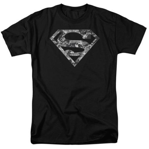 Superman Urban Camo Shield Mens Short Sleeve Shirt BLACK 2X
