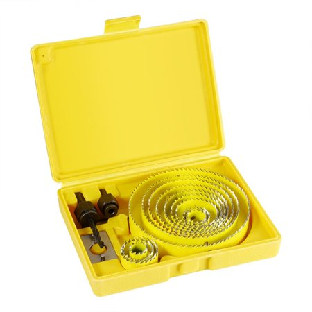 GLOGLOW Wood Sheet Metal,Saw Drill Bit Kit,16pcs Yellow Hole Saw Drill Bit Kit Wood Sheet Metal 3/4