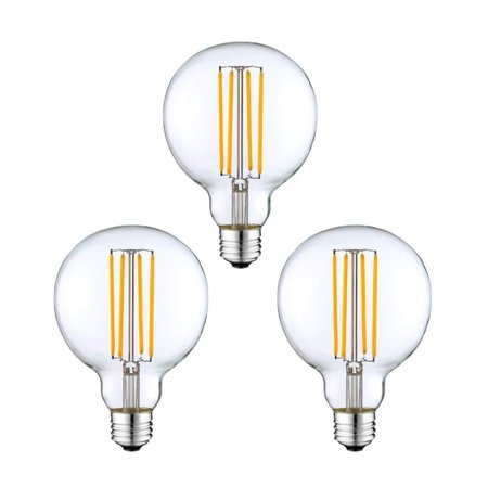 Modvera G25 LED Dimmable Globe Light Bulb, Clear Glass, 420LM, Filament - 3 pack Clear G25 Globe Light Bulb
