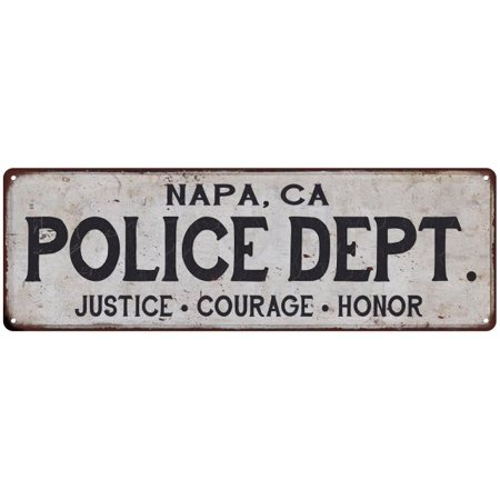 NAPA, CA POLICE DEPT. Vintage Look Metal Sign Chic Decor Retro 6183140 - Halloween Store Napa Ca