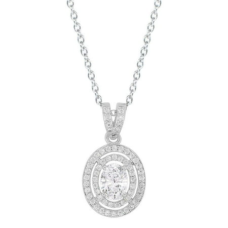 Cate & Chloe Zelda 18k White Gold Pendant Necklace, Cluster Solitaire Oval Cut Diamond Necklace, Beutiful Trendy Twilight Special Occasion Sparkle Necklace for Women Girls Fancy Round CZ - MSRP - 18k White Gold Diamond Pendant