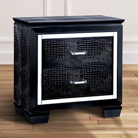 Crocodile Texture Base - ModHaus Living Modern Wood Crocodile Textured Nightstand End Table with 2 Drawers - Includes Pen (Black)
