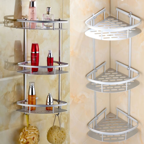 Walfront 3 Tier Aluminum Bathroom Corner Racks and Shelves Shower Caddy Shelf Storage Rack Corner Shampoo Basket Holder with Screws