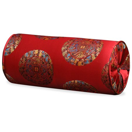 China Furniture and Arts Brocaded Chinese Silk Neck Pillow, Longevity Symbols on Red