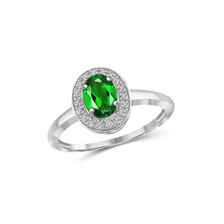 0.83 Carat T.G.W. Chrome Diopside Gemstone and White Diamond Accent Ring