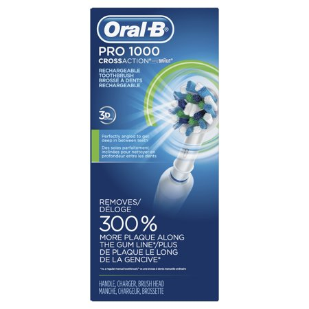 Oral-B 1000 ($10 Mail-In Rebate Available) CrossAction Electric Toothbrush, White, Powered by Braun