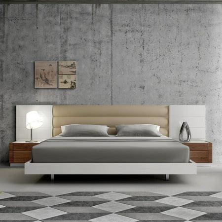 J&M Lisbon Modern White Lacquer & Walnut Wood Veneer King Size ...