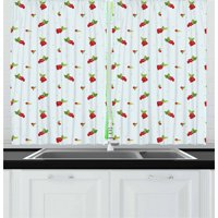Cranberry Curtains 2 Panels Set, Cute Berry Branches on Soft Toned Baby Blue Background Gardening Beauty Theme, Window Drapes for Living Room Bedroom, 55W X 39L Inches, Multicolor, by Ambesonne