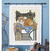 Herrschners Vintage Sewing Room Lap Quilt Top Stamped Cross-Stitch Kit