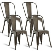 Costway Set of 4 Dining Side Chair Stackable Bistro Cafe Metal Stool