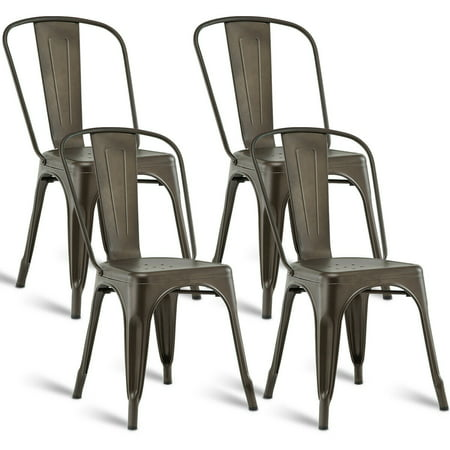 Costway Set of 4 Dining Side Chair Stackable Bistro Cafe Metal Stool Vintage ()