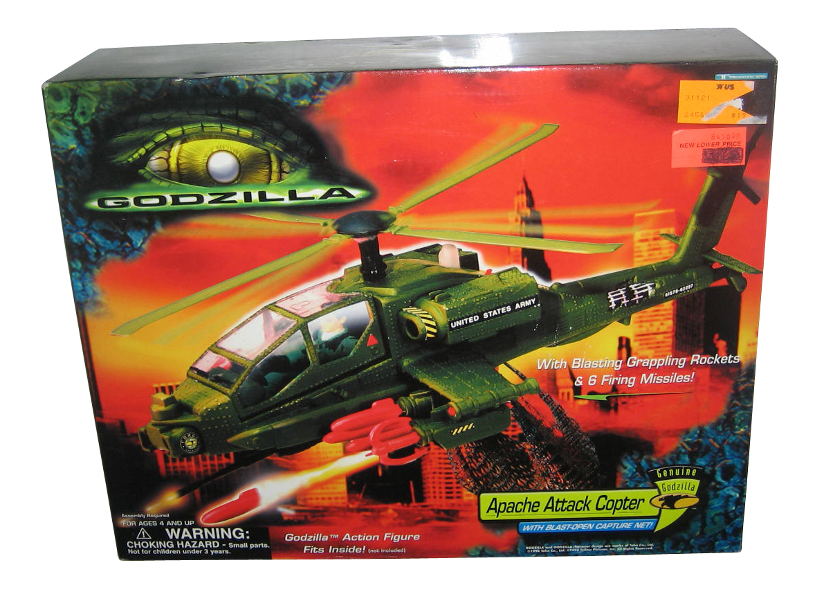 Godzilla Apache Attack Copter (1998) Trendmasters Toy Helicopter w  Capture Net by Trendmasters