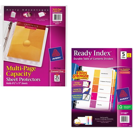 Avery Diamond Clear Multi-Page Capacity Sheet Protectors 74171, Acid Free, 25/Pack and Avery Ready Index Table of Contents Dividers 11187, 5-Tab, 6 Sets Bundle