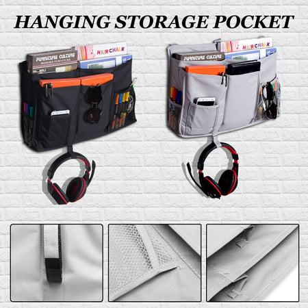 - Bedside Caddy, 8 Pockets Hanging Storage Bag Organizer Holder for Bunk Dorm Rooms & Hospital Bed Rails--Grey&Black