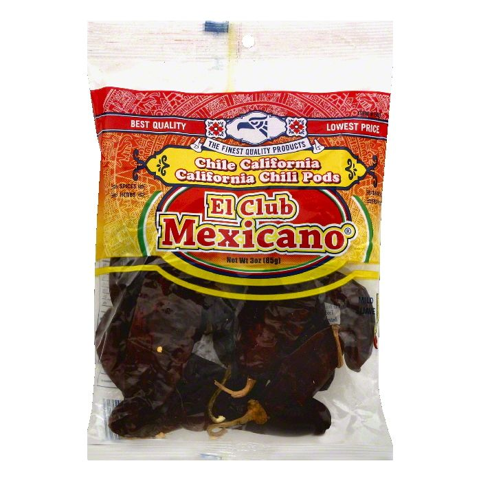 El Club Mexicano Mild California Chili Pods, 3 OZ (Pack of 12)