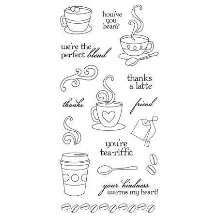 4x8 Inch Latte Love Clear Stamps, Clear stamps cling to any of our stamp plates, and can be easily arranged, re-arranged, saved and re-used By Fiskars - Fiskars Embossing Plates