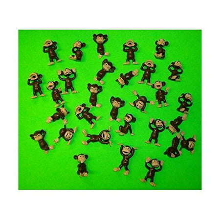 Monkey Figures 25 Tiny Plastic Monkey Figures Party Favors by A&A, Small figures ! Very Small! By AA