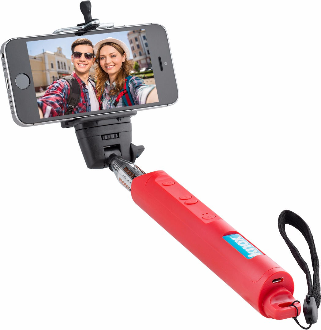 Knox Gear Bluetooth Selfie Stick w/ Zoom Function (Red)