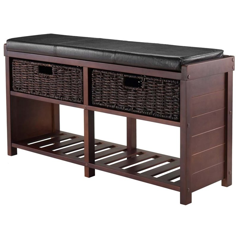 Kingfisher Lane Cushion Storage Bench in Cappuccino with Baskets  sc 1 st  Walmart & Storage Benches with Cushions