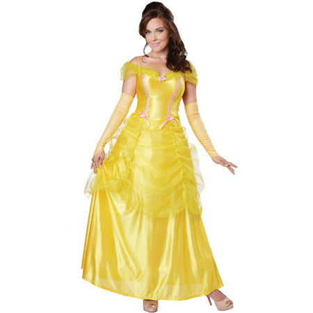 Classic Beauty Womens Costume Adult Belle And The Beast Disney Princess](Adult Disney Belle Costume)