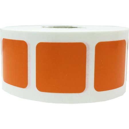 Orange Square Stickers, 1 Inch in Size, 500 Labels on a Roll