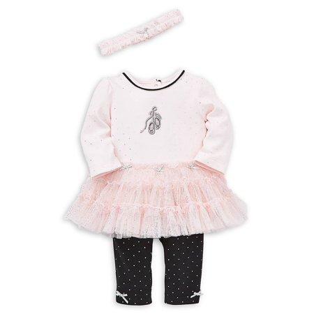 Baby Girl's 3-Piece Cotton Tutu Tunic, Leggings & Headband Set Cotton Baby One Piece