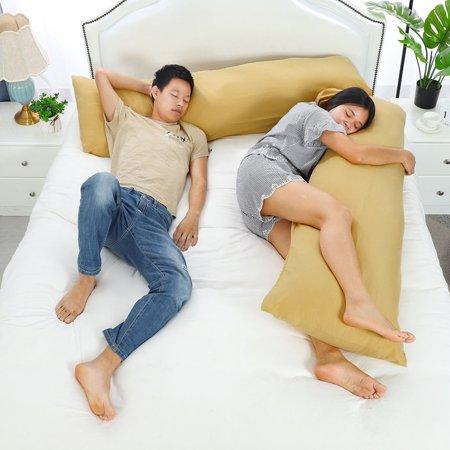 "Set of 2 Body Pillow Cover Long Soft Pillow Case for Body Pillows Gold 20""x48"" - image 4 de 8"