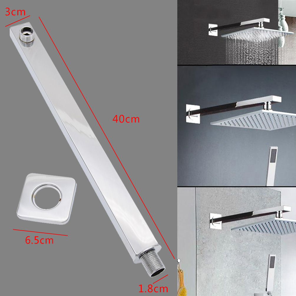 "16"" 40cm Square Extension Arm Ceiling Solid Chrome Wall Mounted for Shower Head"