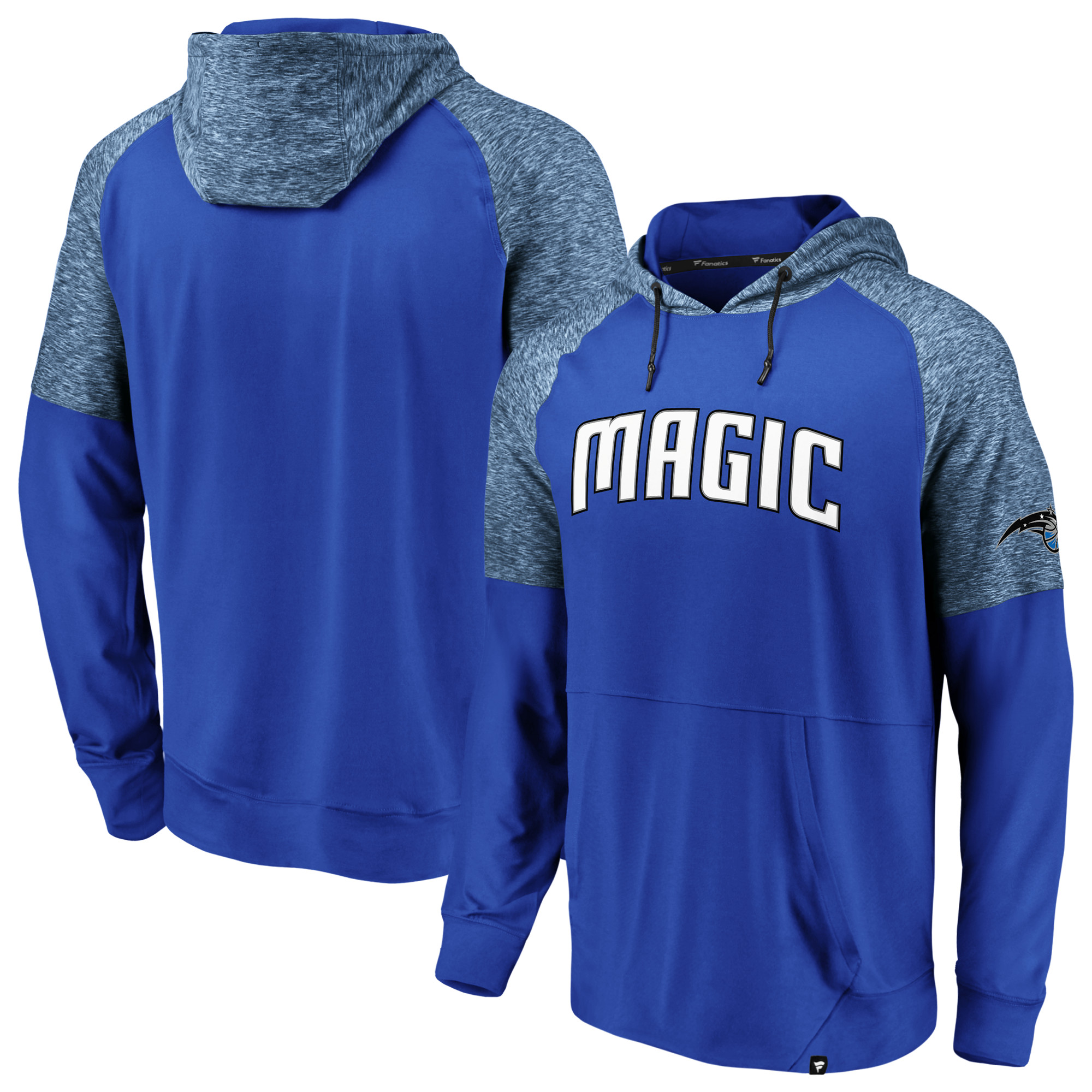 Orlando Magic Fanatics Branded Made to Move Static Performance Raglan Pullover Hoodie - Blue/Heathered Blue