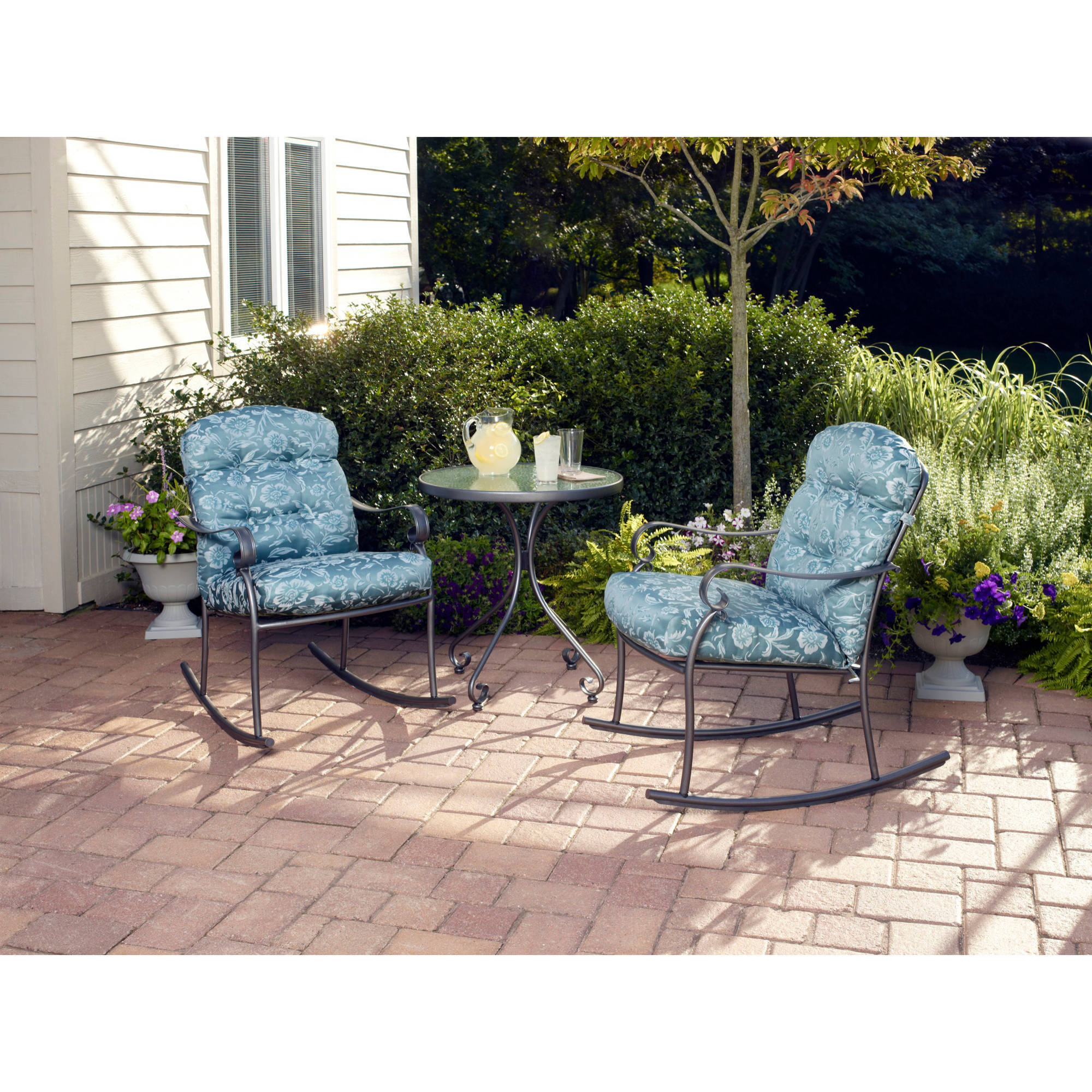 Mainstays Willow Springs 3-Piece Rocking Outdoor Bistro Set, Blue, Seats 2