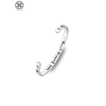 Luxtrada Inspirational Bracelets for Women Engraved Personalized Mantra Cuff Bangle(Type B - siliver) B C Gold Bracelets