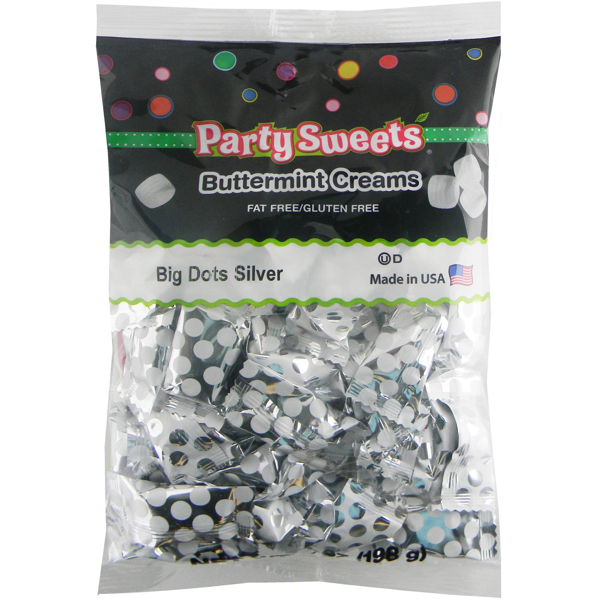 Party Sweets Big Dots Silver Buttermint Creams Candy, 7 oz