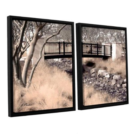 Artwall  Linda Parkers Bridge Over Wash 2 Piece Floater Framed Canvas Set