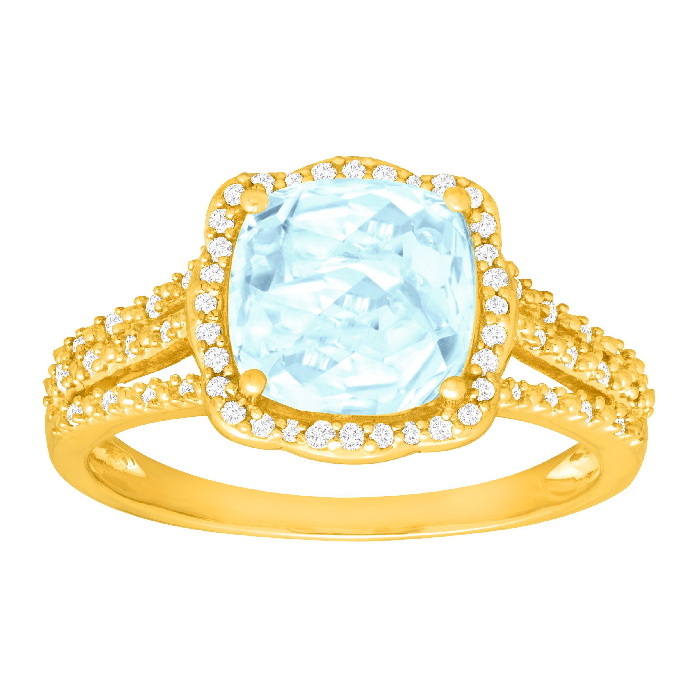 1 7 8 ct Natural Aquamarine & 1 6 ct Diamond Ring in 14kt Gold by Richline Group