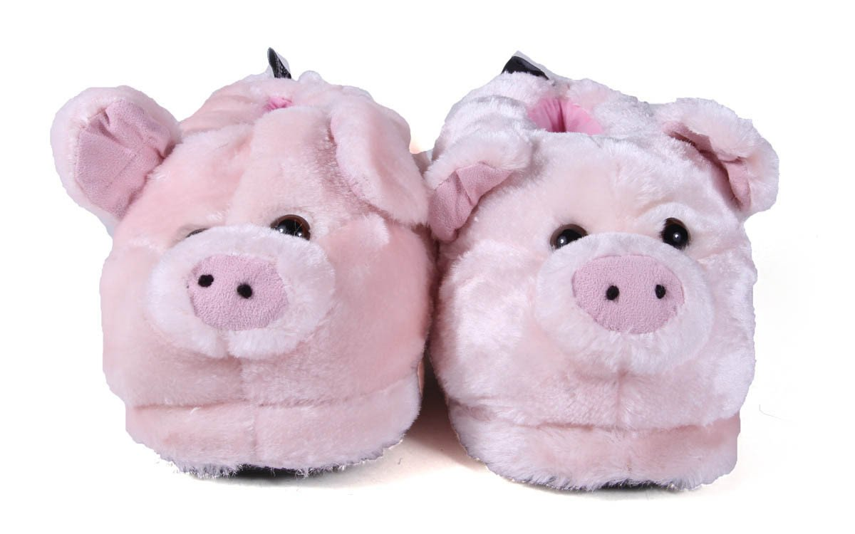 Happy Feet Mens and Womens Pig Animal Slippers