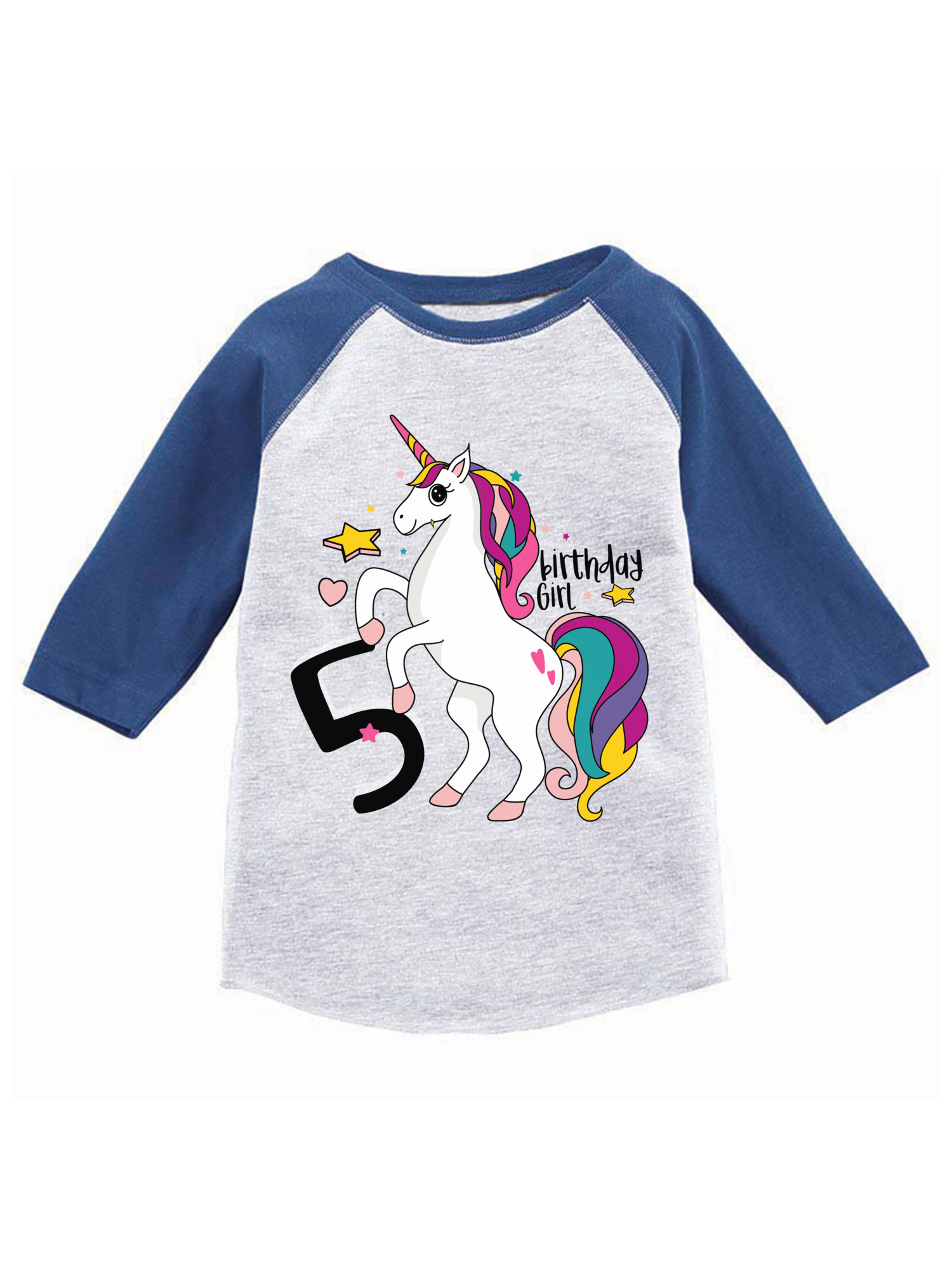 Awkward Styles Birthday Girl Toddler Raglan Unicorn Jersey Shirt 5th Gifts For 5 Year Old Cute Rainbow Outfit