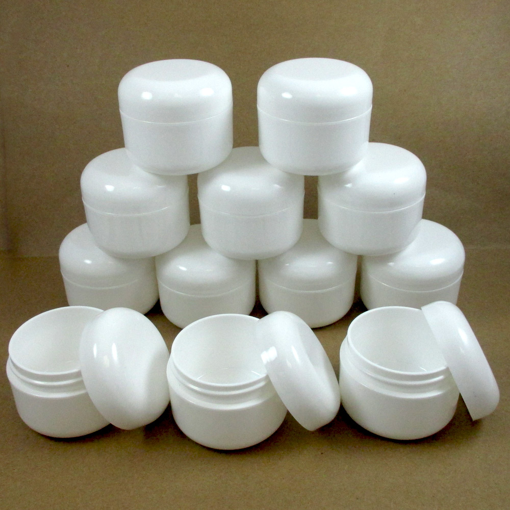 12 WHITE 2.5 oz Plastic Cosmetic Double Wall Cream Empty Dome Jar Containers Cap