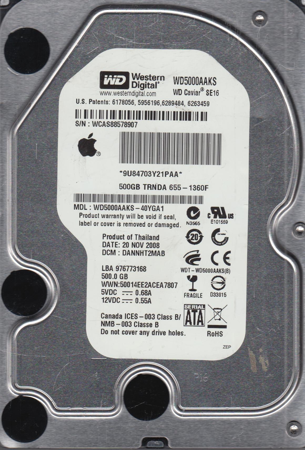 WD5000AAKS-40YGA1, DCM DANNHT2MAB, Western Digital 500GB SATA 3.5 Hard Drive by WD
