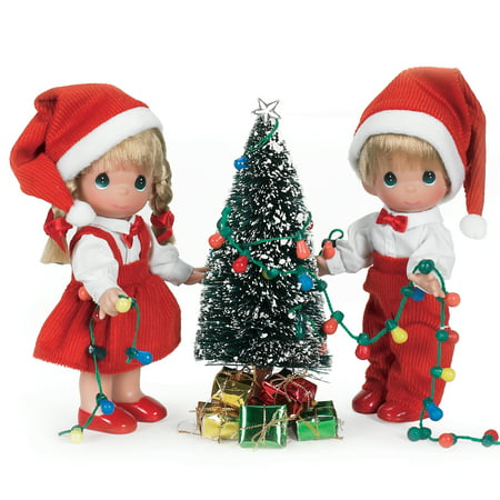 Precious Moments Dolls by The Doll Maker, Linda Rick, Set of Dolls, You Light Up My Life Christmas Set, 7 inch doll Andy Doll Maker